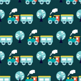 toy train background colored flat repeating design