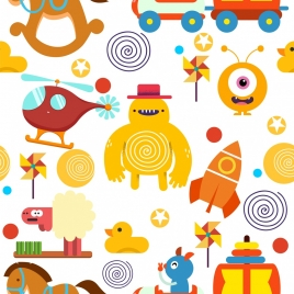 toys background colorful flat symbols decor