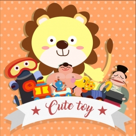 toys background cute colored icons cartoon design