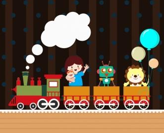 toys background train girl robot lion balloons icons