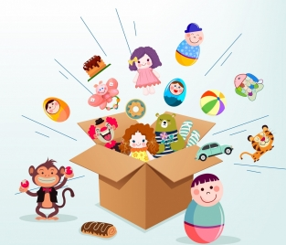 toys box background 3d design dynamic decoration