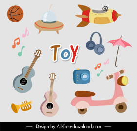 toys icons colorful flat objects sketch