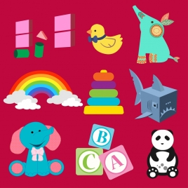 toys icons design various colorful symbols