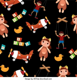toys pattern colorful repeating sketch