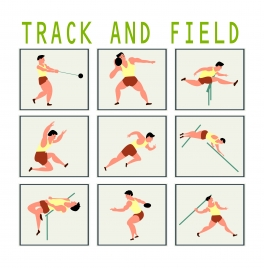 track and field promotion vector illustration with games