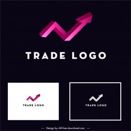 trade logotype template modern 3d arrow sketch