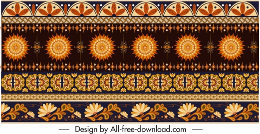 traditional fabric pattern colored flat repeating ethnic elements