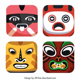 traditional masks icons colorful emotional sketch