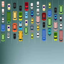 traffic background cars road lanes icons colored flat