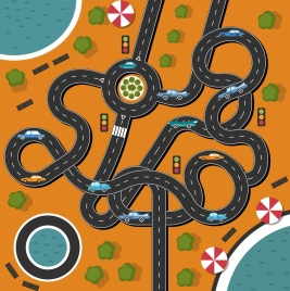 traffic background curved road cars icons flat design