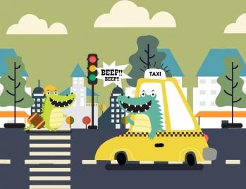 traffic background funny stylized crocodile car road icons