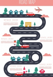 traffic background road vehicles icons colored flat design
