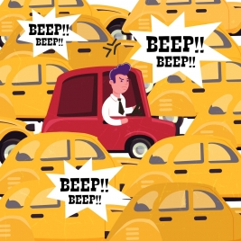 traffic banner crowded cars noise icons cartoon sketch