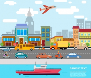 traffic concept banner road air ship icons