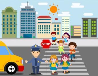 traffic drawing schoolchildren crossing street icons colored cartoon
