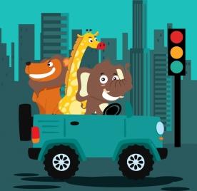 traffic drawing stylized animal car icons blue decor