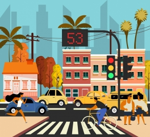 traffic painting cars pedestrian icons cartoon design