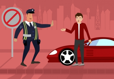 traffic police job drawing men icon colored cartoon