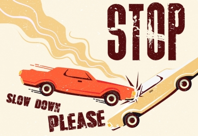 traffic sign banner crashing cars icon colored retro