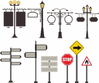 traffic sign icons collection classical design