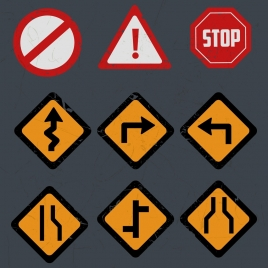 traffic sign templates classical colored flat shapes
