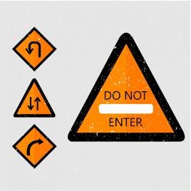 traffic signs template retro geometric design
