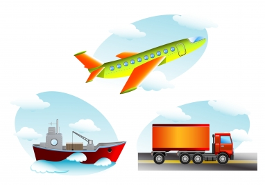 transportation icons vector illustration