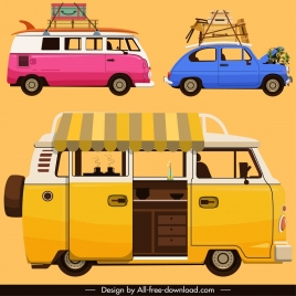 transportation vehicle icons colorful classical sketch