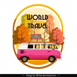 travel advertising background retro bus sketch colorful flat