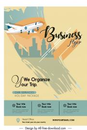 travel advertising flyer template airplane sketch grunge design