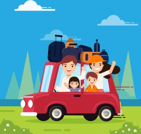 travel background family car luggage icons cartoon design
