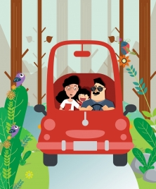 travel background family red car natural landscape icons