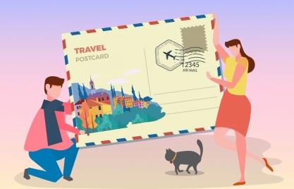 travel background huge postcard people icons decor
