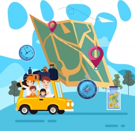 travel background people car map compass luggage icons