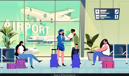 travel background tourists airport hall sketch cartoon design