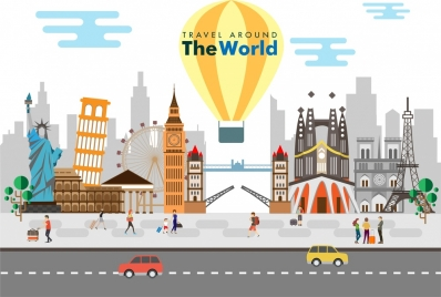 travel background with famous places symbols collection