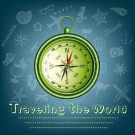 travel banner compass icon shiny green design