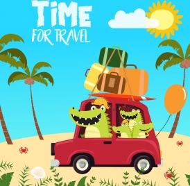 travel banner crocodile icons stylized cartoon design