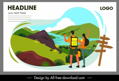 travel banner nature scenery tourists sketch colorful design
