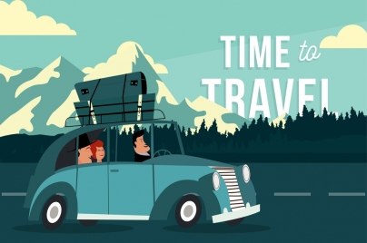 travel banner people car luggage icons cartoon design
