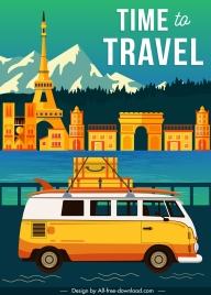 travel banner scenery elements vacation bus sketch