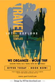 travel banner template classical nature scenery sketch