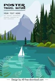 travel banner template lake sailboat mountain decor