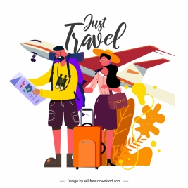 travel banner tourists airplane sketch cartoon design