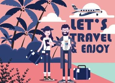 travel banner tourists beach scene airplane icons decor