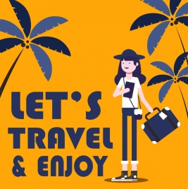 travel banner woman coconut icons classical design