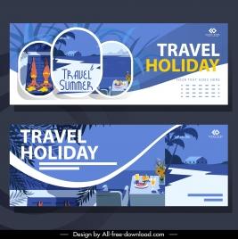 travel banners classic design elegant violet decor