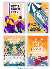 travel banners templates bus airplane tourists sketch