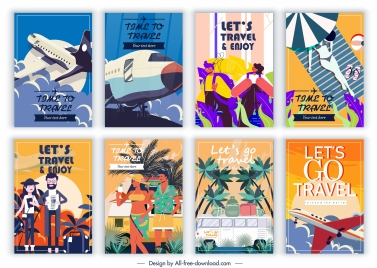travel banners templates colorful classic design