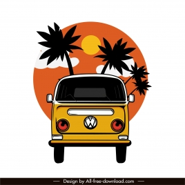 travel bus icon colored flat classical sketch